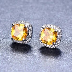 ELEGANT 925 Silver Princess Cut Yellow earrings
